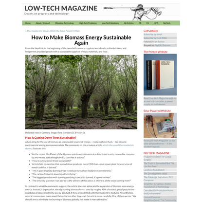 How to Make Biomass Energy Sustainable Again