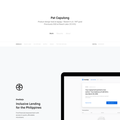 Pat Capulong — Product Designer