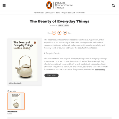 The Beauty of Everyday Things by Soetsu Yanagi | Penguin Random House Canada