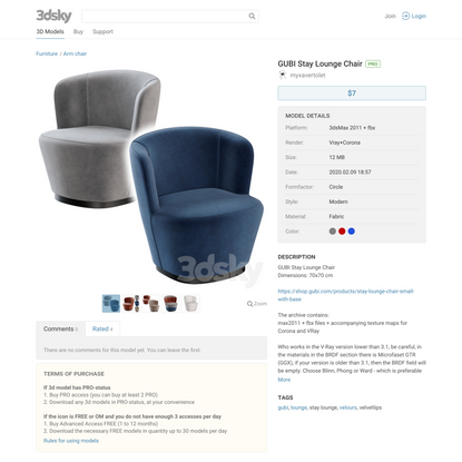 3d models: Arm chair - GUBI Stay Lounge Chair
