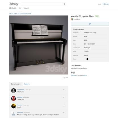 3d models: Musical instrument - Yamaha B3 Upright Piano