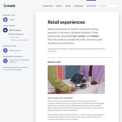 Retail experiences - Shopify Polaris