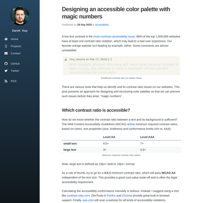Designing an accessible color palette with magic numbers