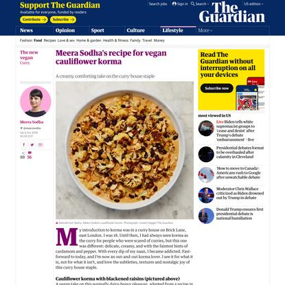 Meera Sodha's recipe for vegan cauliflower korma