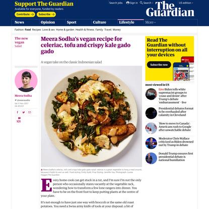 Meera Sodha's vegan recipe for celeriac, tofu and crispy kale gado gado