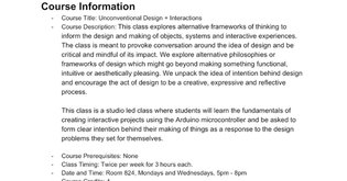 Syllabus - UnC Design + Interactions