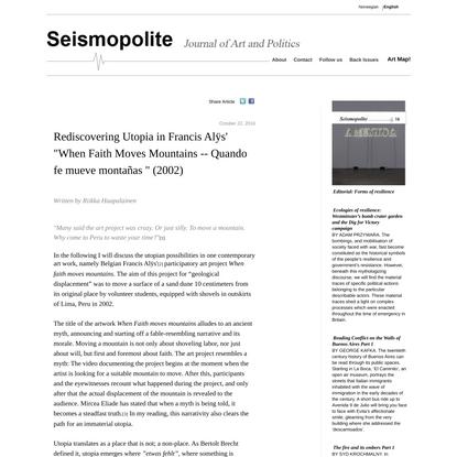 "Rediscovering Utopia in Francis Alÿs' ""When Faith Moves Mountains - Quando fe mueve montañas "" (2002)"