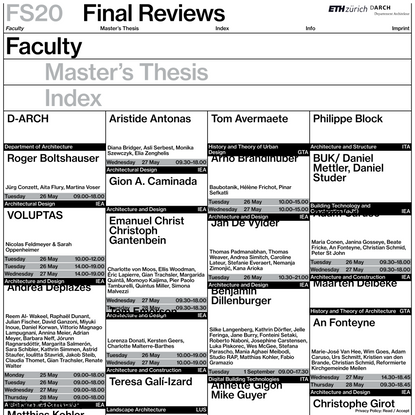 Faculty – Final Reviews