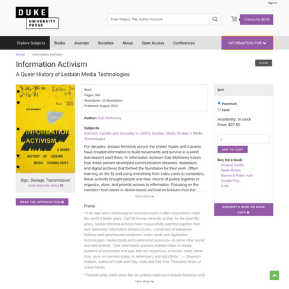Duke University Press - Information Activism