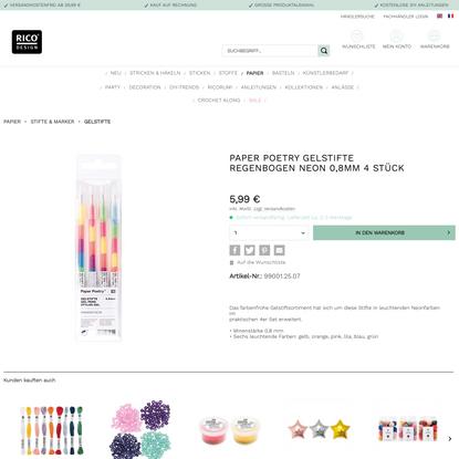 Paper Poetry Gelstifte Regenbogen neon 0,8mm 4 Stück