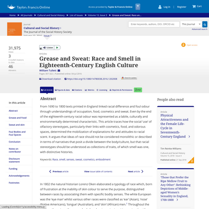 Grease and Sweat: Race and Smell in Eighteenth-Century English Culture