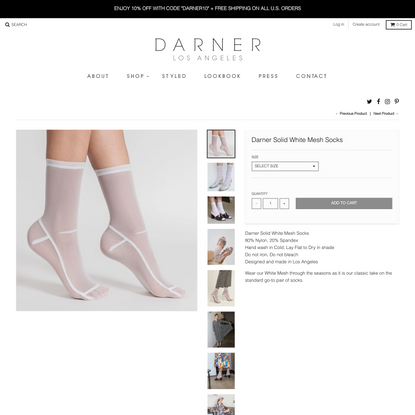Darner Solid White Mesh Socks