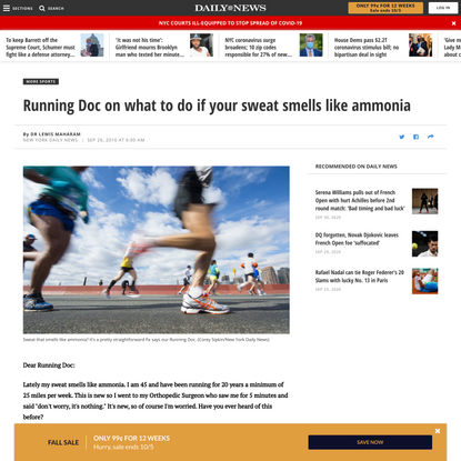 Running Doc on what to do if your sweat smells like ammonia