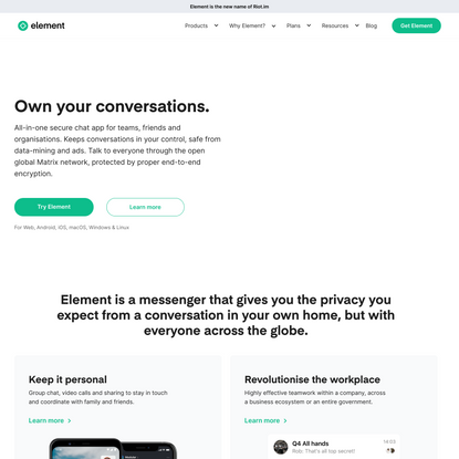 Element group video messenger | Group chat | Team communication productivity app | Matrix open network | Decentralized end-t...
