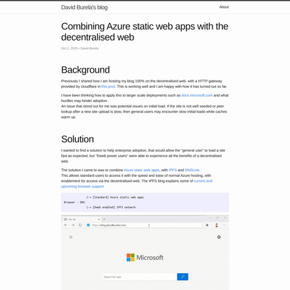 Combining Azure static web apps with the decentralised web