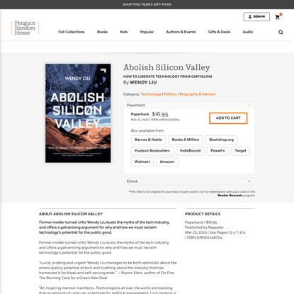 Abolish Silicon Valley by Wendy Liu: 9781912248704 | PenguinRandomHouse.com: Books