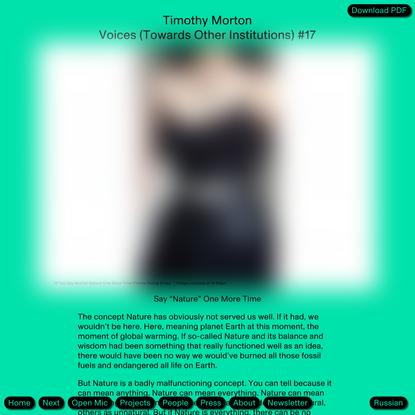 Timothy Morton — Open?
