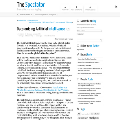Decolonising Artificial Intelligence