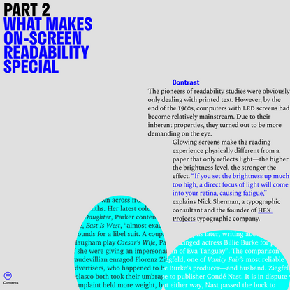 'What makes on-screen readability special' from 'Read Me: Magazine' by Readymag Templates