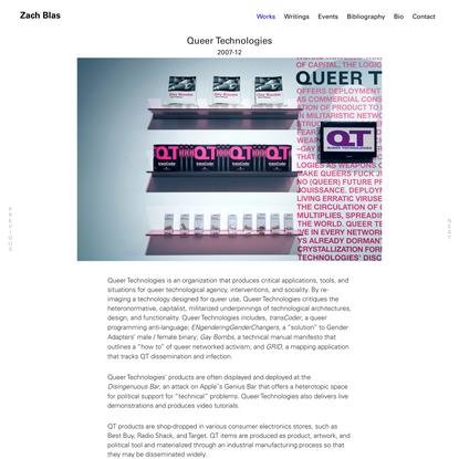 Queer Technologies   Zach Blas