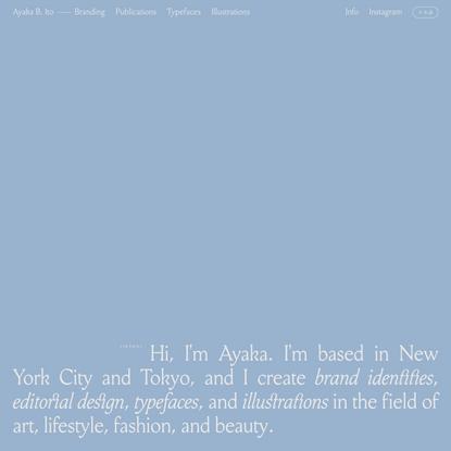 Ayaka B. Ito – Graphic Design (NYC • TYO)