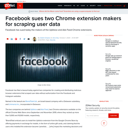 Facebook sues two Chrome extension makers for scraping user data | ZDNet