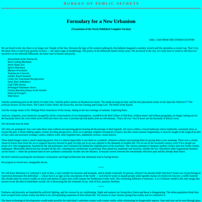 Formulary for a New Urbanism (Ivan Chtcheglov)