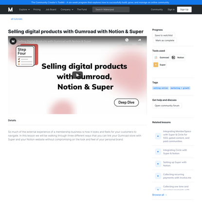 Makerpad Tutorial - Selling digital products with Gumroad with Notion & Super