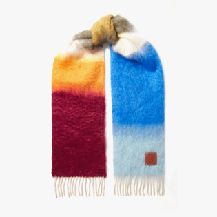 Loewe leather-trimmed fringed striped mohair-blend scarf