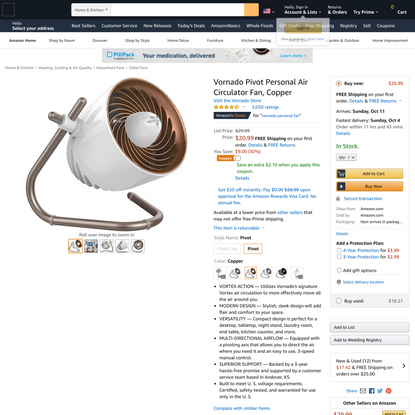 Vornado Pivot Personal Air Circulator Fan, Copper