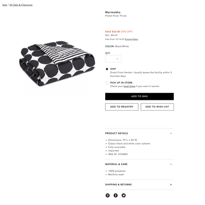 Marimekko Pienet Kivet Throw Sale - All Sale & Clearance - Bloomingdale's