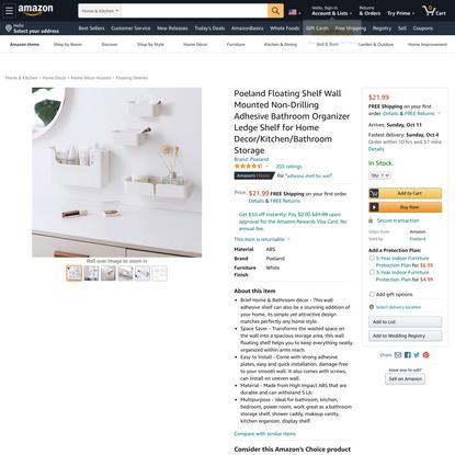 Poeland Floating Shelf Wall Mounted Non-Drilling Adhesive Bathroom Organizer Ledge Shelf for Home Decor/Kitchen/Bathroom Sto...