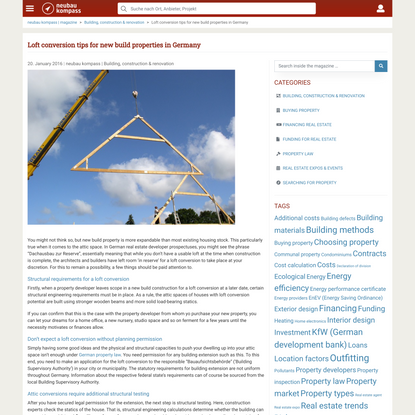 Loft conversion tips for new build properties in Germany – neubau kompass