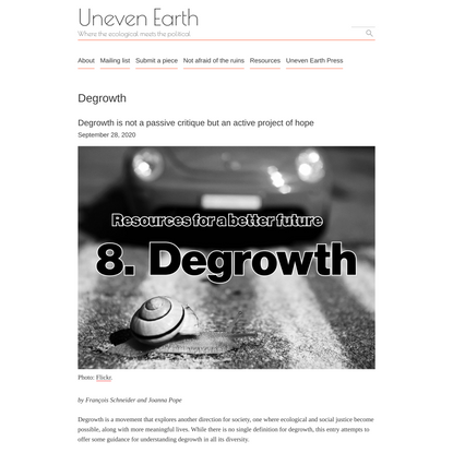 Degrowth – Uneven Earth