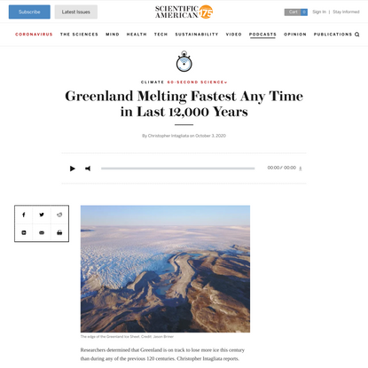Greenland Melting Fastest Any Time in Last 12,000 Years