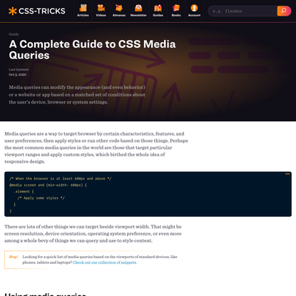 A Complete Guide to CSS Media Queries | CSS-Tricks