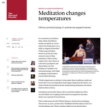 Meditation changes temperatures