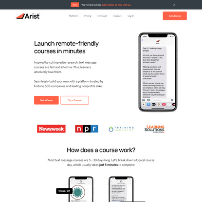 Arist: the text message learning platform