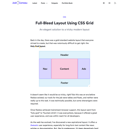 CSS Grid full-bleed layout tutorial · Josh W Comeau