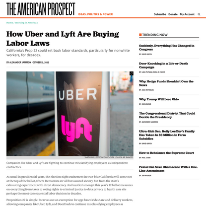 How Uber and Lyft Are Buying Labor Laws