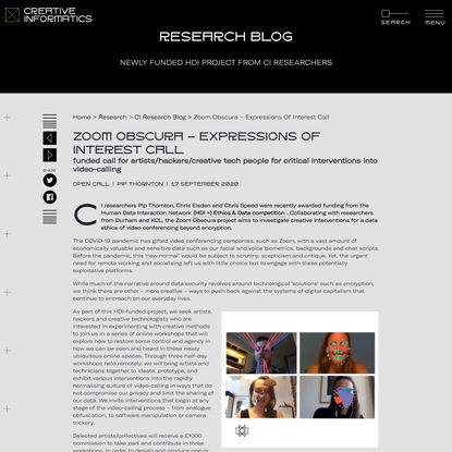 Zoom Obscura - expressions of interest call - Creative Informatics