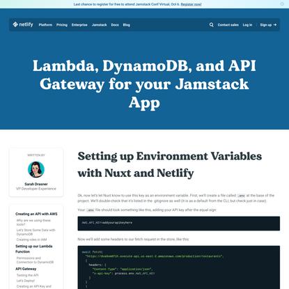 How to Create API with AWS: Setup Env with Nuxt & Netlify
