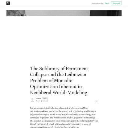 The Sublimity of Permanent Collapse and the Leibnizian Problem of Monadic Optimization Inherent in…