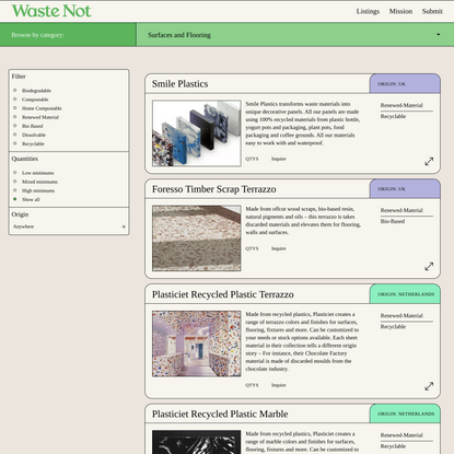 Surfaces and Flooring - Waste Not