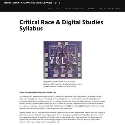 Critical Race & Digital Studies Syllabus