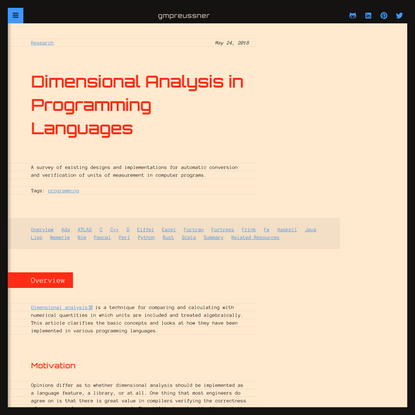 Dimensional Analysis in Programming Languages | gmpreussner