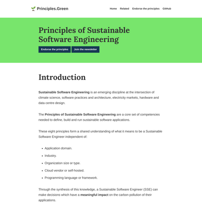 Principles of Sustainable Software Engineering • Principles of Sustainable Software Engineering