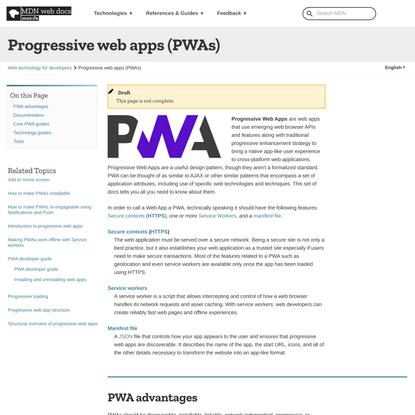 Progressive web apps (PWAs)