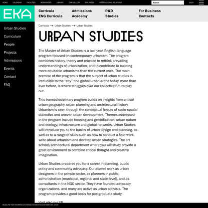 Urban Studies — Estonian Academy of Arts
