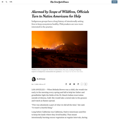 Alarmed by Scope of Wildfires, Officials Turn to Native Americans for Help - The New York Times